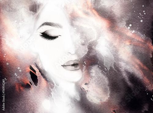 Beautiful woman portrait. Abstract fashion watercolor illustration