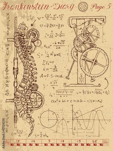 Fotografie, Obraz Frankenstein Diary with steampunk mechanism in human anatomy backbone