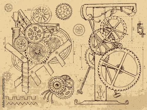 Obraz na płótnie Old mechanisms and machines in steampunk style
