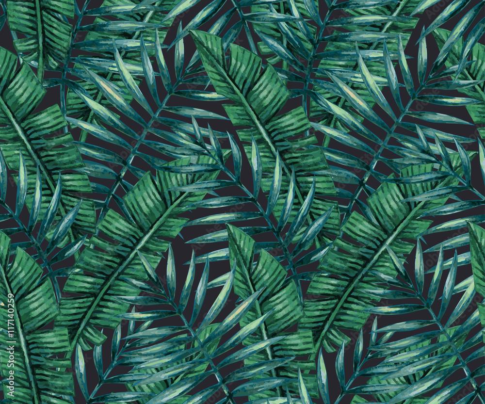 Fototapeta Akwarela tropikalnych liści palmowych i bananowca