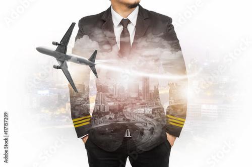 Fotografija Double exposure pilot wearing suit