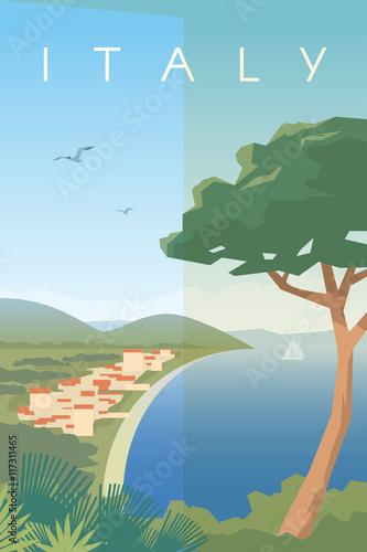 Fotografia, Obraz Italy. Vector poster.