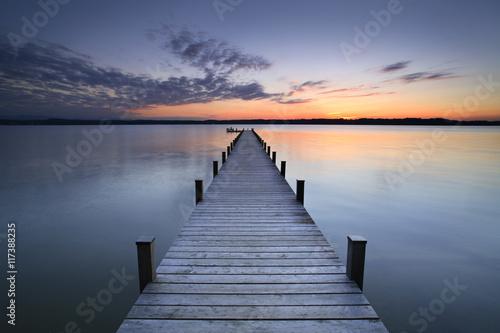 Lake at Sunset, Long Wooden Pier Fototapet