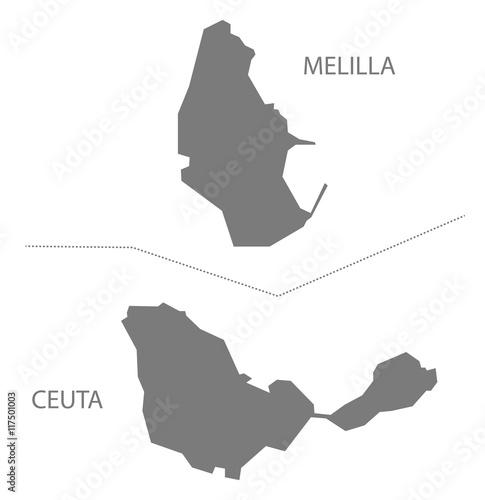 Melilla and Ceuta Spain Map grey