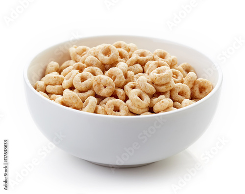 Photo Bowl of Whole Grain Cheerios Cereal isolated on white