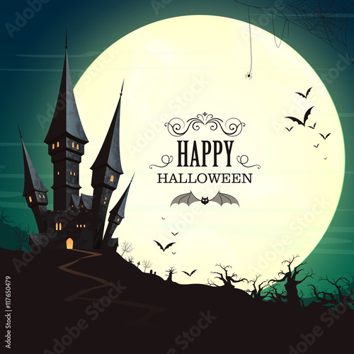 Vector Illustration of a Landscape with a Spooky Haunted Halloween Castle and a Full Moon