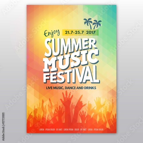 Photo Colorful summer music festival poster