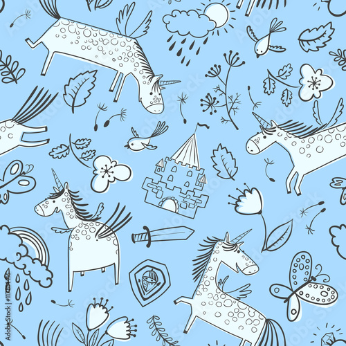 Vector doodle seamless pattern with magic unicorns