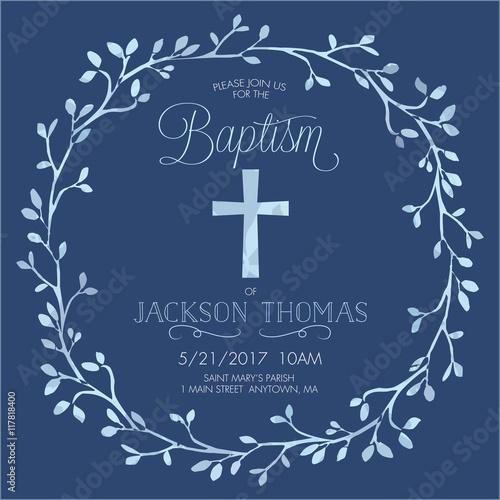 Carta da parati Blue Boy's Baptism/Christening/First Communion/Confirmation Invitation with Wate