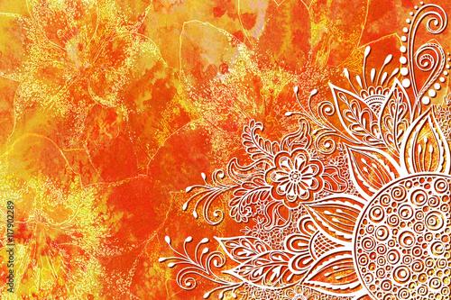 Kaligraficzny Wzór W Stylu Vintage, Streszczenie Ozdoby Z Kwiatowymi Konturami, Białe Kontury Na Kolorowym Ręcznie Rysowanym Akwarelowym Tło