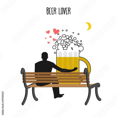 Beer lover. Beer mug and watch people on moon. Date night. Lover Poster Mural XXL