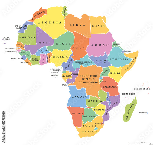 Canvas Print Africa single states political map