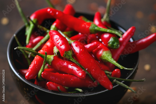 Fototapeta Heap of red hot chili peppers
