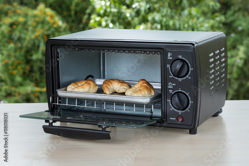 black toaster oven on natural background
