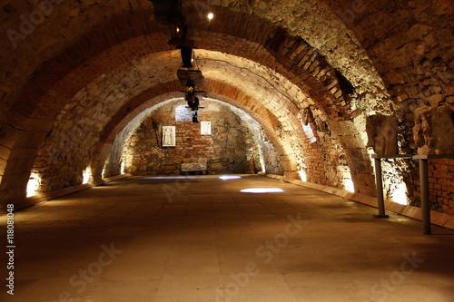 old dark arched underground tunnel