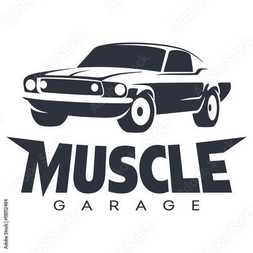 Muscle car Garage Logo black фототапет
