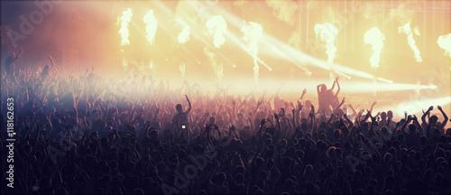 Fotografie, Tablou Crowd at concert and blurred stage lights