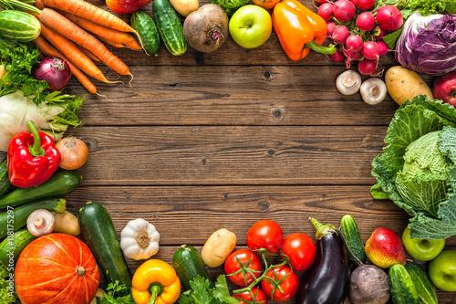 Frame of assorted fresh vegetables