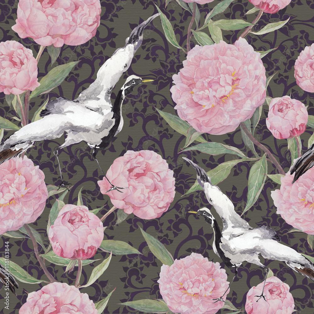 Fototapeta Ptaki żurawia, kwiaty piwonii Kwiatowy