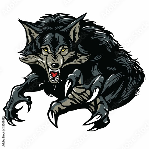 Canvas Print Werewolf Character Design Vector Illustration