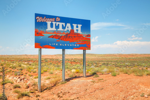 Canvas Print Welcome to Utah road sign