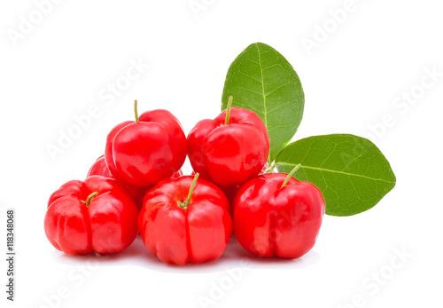 Barbados cherry,Ripe thai cherry on white background