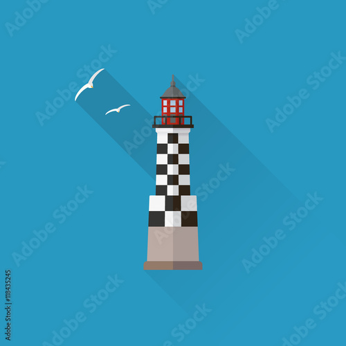 Fotomural Perdrix Lighthouse in Brittany Flat design long shadow icon
