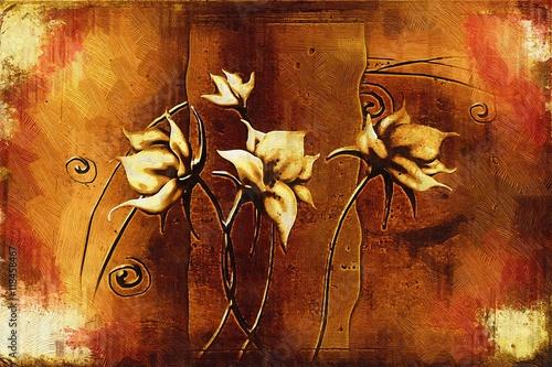 Vintage oil painting with art illustration flower