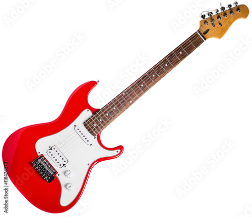 Fotografia Red electric guitar on white background