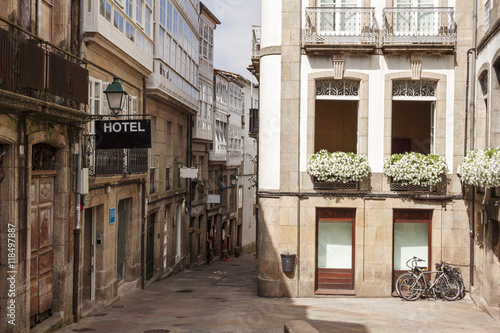 Stampa su Tela Street in the old town of Santiago de Compostela. Galicia