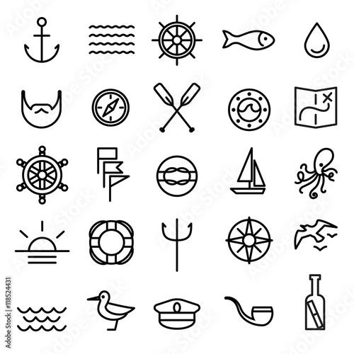 Obraz na plátne Nautical, marine line icons set