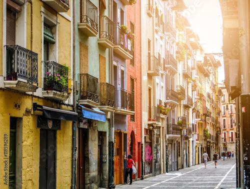 Ancient street. Pamplona, Navarre, Spain. Fototapeta