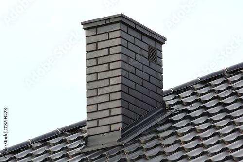 chimney on roof Fototapet