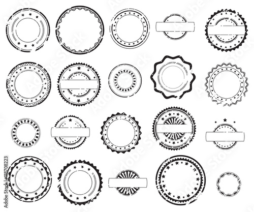 Valokuva Grunge rubber stamps and stickers icons, set, graphic design elements, black isolated on white background, vector illustration