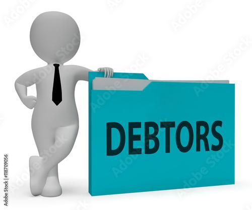 Fotografija Debtors Folder Indicates Lender Debt 3d Rendering