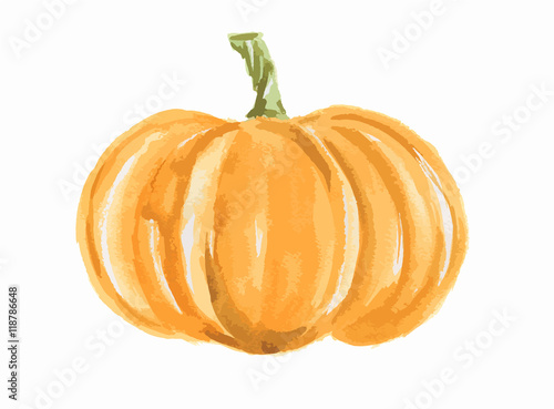 Canvas Print Isolated watercolor pumpkin