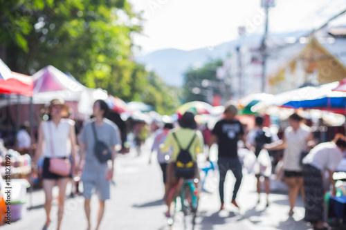 Blurred image of street market Fototapet