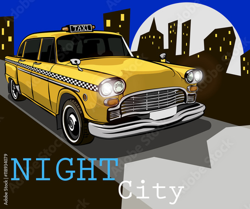 Photo Taxi on the background of night city
