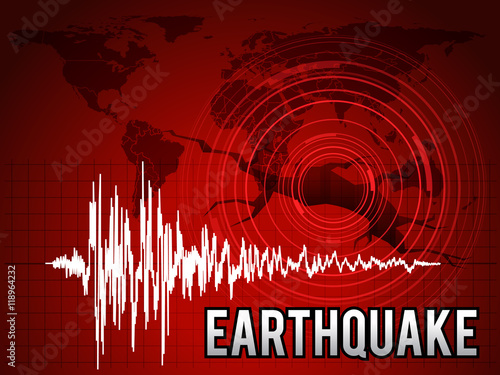 Fotografija EarthQuake -  frequency wave , map world circle wave and crack floor vector red