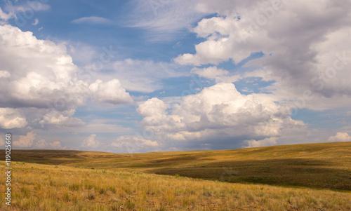 Fotografie, Obraz Upland bunchgrass prairie with blue sky and clouds