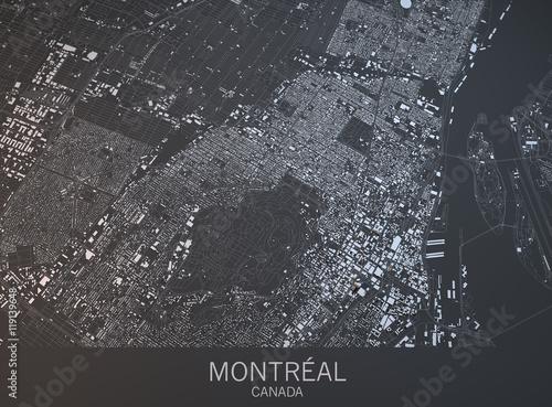 Fotografie, Obraz Cartina di Montreal, vista satellitare, città, Quebec, Canada