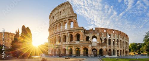 Fényképezés Colosseum in Rome and morning sun, Italy