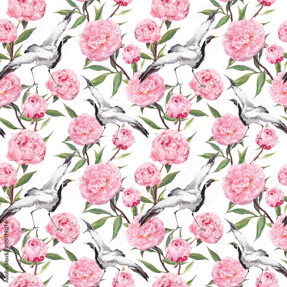Fototapeta Dźwigowy taniec ptaków, różowe kwiaty piwonii Kwi