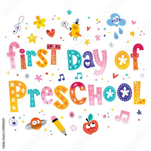 first day of preschool unique lettering kids design