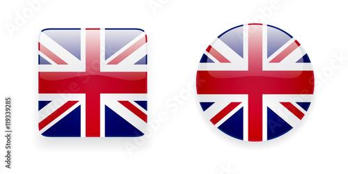 Photo The Union Jack flag vector icon set