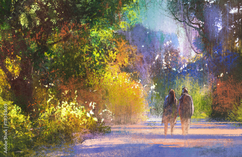 couple walking in beautiful place,walkway in forest,illustration painting