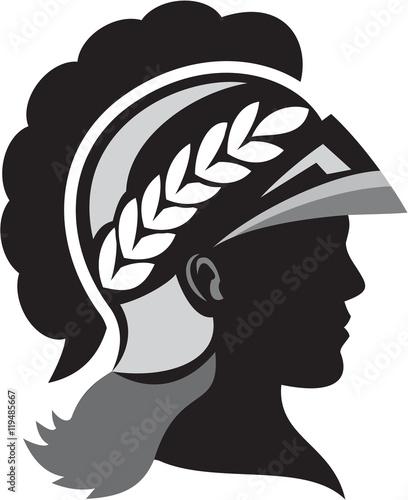 Obraz na plátně Minerva Head Side Silhouette Retro
