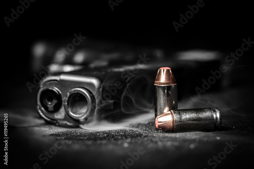 Photo Bullets and pistol Glock .40