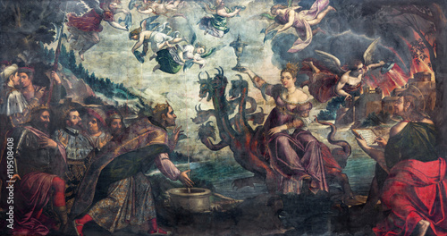 Stampa su Tela BRESCIA, ITALY - MAY 23, 2016: The painting of Apocalyptic vision The courtesan Babylon sitting on the dragon in church Chiesa di San Giovanni Evangelista by Grazio Cossali (middle of 16