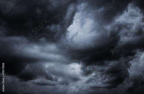 Fotografie, Obraz Cloudy stormy black and white dramatic sky background